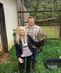 with my owl crush, Maximus and owner, fellow Nancy Ward descendant Curt Cearley, May 2019
