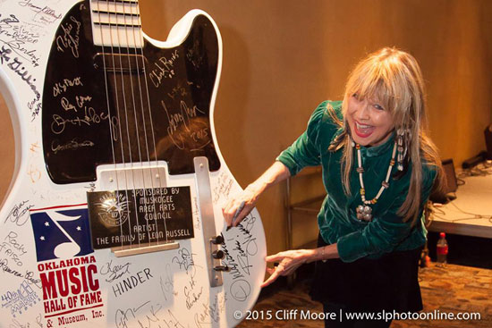 Becky and Oklahoma Music Hall of Fame guitar